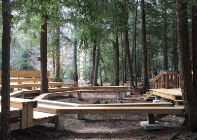 An image of a campfire area in Muskoka Ontario at the Wenonah Outdoor Education Centre.