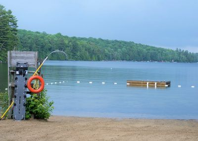An image of the Clear Lake beach in Muskoka Ontario at the Wenonah Outdoor Education Centre.