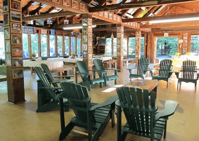 An interior image of the Boyes Lodge Dining Hall at the Wenonah Outdoor Education Centre.